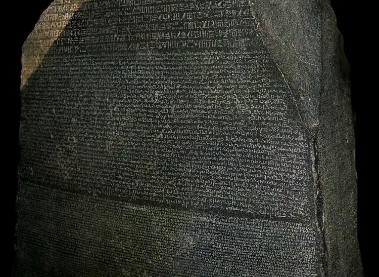 Rosetta Stone with Ancient Egyptian and Ancient Greek texts.